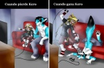 anthro canine chair clothed clothing duo feline female fox game_controller gaming inside joystick kero_tzuki male mammal playing_videogame sequence sitting  Rating: Safe Score: 8 User: xXK1T5UN3Xx Date: March 09, 2012