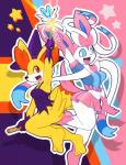2015 abstract_background anthro armpits blue_sclera bottomless bow breasts broom canine clothed clothing cosplay duo eeveelution elpatrixf fangs female fennekin fox half-dressed hat magic magic_user magical_girl mammal midriff navel nintendo open_mouth pokémon pokémorph red_eyes ribbons skirt small_breasts smile star sylveon video_games wand white_eyes white_sclera witch witch_hat  Rating: Safe Score: 17 User: Lance_Armstrong Date: October 28, 2015