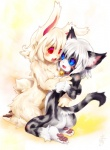 anthro blue_eyes blush breasts cat collar duo fangs feline female female/female hair karin lagomorph mammal open_mouth rabbit raised_tail red_eyes simple_background tetetor-oort white_background white_hair  Rating: Questionable Score: 4 User: Riversyde Date: October 09, 2010