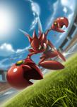 2017 action_pose adrianovidal87 ambiguous_gender depth_of_field detailed_background digital_drawing_(artwork) digital_media_(artwork) dutch_angle flag grass hi_res insect_wings low-angle_view nintendo pincers pokémon pokémon_(species) pose reaching_towards_viewer red_body scizor signature sky solo stadium video_games wings yellow_eyes