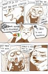 anthro buckteeth canine carrot clothing comic dialogue disney duo female food fox hi_res judy_hopps lagomorph long_ears lupinchopang27 male mammal monochrome nick_wilde pen police_uniform rabbit speech_bubble teeth uniform vegetable zootopia  Rating: Safe Score: 2 User: Vallizo Date: April 28, 2016
