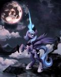 """2012 blue_eyes blue_hair cloud cutie_mark equine female feral friendship_is_magic hair hi_res horn mammal moon mountain my_little_pony outside ponykillerx princess_luna_(mlp) solo tiara winged_unicorn wings  Rating: Safe Score: 19 User: remigius Date: January 02, 2015"""""""