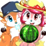 bovine bow buffalo_bell buffalo_bull_(mascot) cattle dress female hat horn looking_at_viewer male mammal nippon_professional_baseball one_eye_closed orix_buffaloes popsicle ribbons smile summer watermelon wink young   Rating: Safe  Score: 5  User: pickledchips  Date: January 13, 2013
