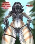 alien armor bikini_armor breasts cleavage clothed clothing english_text female fishnet hands_on_hips heresy_(artist) looking_at_viewer mask midriff navel not_furry predator_(franchise) skimpy solo spots suggestive text thick_thighs unconvincing_armor yautja  Rating: Safe Score: 18 User: ROTHY Date: May 18, 2015