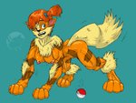 4:3 alternate_species anthro arcanine blue_eyes breasts female fur green_background gym_leader misty_(pokémon) nintendo nipples nolaf nude orange_body pokéball pokémon pokémon_(species) simple_background solo standard_pokéball transformation video_games