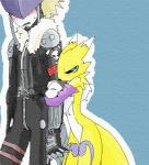 beelzemon black_nose black_sclera blue_eyes blush clothed clothing digimon facial_markings gloves hug jacket markings renamon takao-hikari   Rating: Safe  Score: 2  User: ChestFox  Date: March 23, 2014