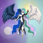 2016 anthro anthrofied bare_shoulders bracelet breasts choker cleavage clothed clothing conjoined day dress elbow_gloves equine eyes_closed flying friendship_is_magic gloves hi_res horn jewelry mammal multi_head my_little_pony night princess_celestia_(mlp) princess_luna_(mlp) smile winged_unicorn wings  Rating: Questionable Score: 1 User: Vladiverse Date: July 29, 2016