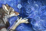 2002 abstract abstract_background ambiguous_gender anthro biped black_claws black_nose blowing blue_background canine claws coyote dreamcatcher eyes_closed feathers fur grey_fur inner_ear_fluff kyoht_luterman mammal moon native_american simple_background solo spiral star