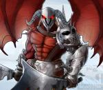 anthro armor cultmastersleet demon fantasy horn humanoid jagex_ltd k'ril_tsutsaroth male mammal nipples red_eyes runescape solo wings  Rating: Safe Score: 2 User: CultmasterSleet Date: October 15, 2015