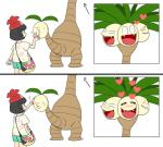 2017 3_heads 4_heads alolan_exeggutor ambiguous_gender aoi_k3 biped black_eyes black_hair blush bracelet brown_body close-up clothed clothing comic cute digital_drawing_(artwork) digital_media_(artwork) directional_arrow dot_eyes duo eating eyes_closed fangs feeding female flora_fauna food hair happy hat headshot_portrait human japanese jewelry leaf light_skin long_neck mammal moon_(pokémon) multi_head nintendo not_furry nude open_mouth open_smile palm_tree petting plant pokepuff pokémon pokémon_(species) portrait purse rear_view regional_variant shirt short_hair shorts simple_background small_pupils smile standing tail_head tail_mouth tan_skin toony tree video_games white_background
