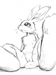 anthro black_and_white buckteeth female flat_chested fur jetcrow lagomorph looking_away mammal monochrome pussy rabbit simple_background sitting sketch solo spread_legs spreading teeth white_background