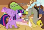2016 antlers badumsquish dialogue discord_(mlp) draconequus english_text equine female friendship_is_magic hi_res horn male mammal my_little_pony pregnant red_eyes scared text twilight_sparkle_(mlp) winged_unicorn wings  Rating: Safe Score: 9 User: 2DUK Date: January 18, 2016