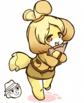 2012 animal_crossing blonde_hair brown_eyes clothing fur hair isabelle_(animal_crossing) kemono nintendo open_mouth video_games yellow_fur のたま   Rating: Safe  Score: 0  User: KemonoLover96  Date: May 06, 2015