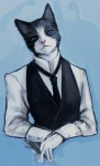 2009 abstract_background anthro black_fur blue_eyes cigar clothed clothing domestic_cat felid feline felis fur gloves inperno looking_at_viewer male mammal multicolored_fur necktie pink_nose realistic simple_background solo suit two_tone_fur vest whiskers white_fur