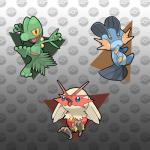 absurd_res avian bird blaziken blue_eyes chicken feral grey_background group hi_res lizard mudkip nintendo pokefusionman pokémon reptile scalie sceptile simple_background swampert torchic treecko video_games yellow_eyes