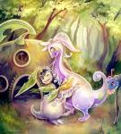 ambiguous_gender bayleef dragon eldrige flower forest goodra hug lapras male nicobay nintendo pokémon slime slug tree video_games   Rating: Safe  Score: 7  User: slyroon  Date: November 17, 2013