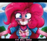 alternate_species blood clothing cloud female friendship_is_magic gore hair human humanized mammal my_little_pony pink_hair pink_skin pinkie_pie_(mlp) signature sky smile solo teeth text the-butcher-x tree  Rating: Questionable Score: 8 User: Princess_Cadance_R34 Date: November 15, 2014