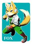 anthro belt black_nose boots brown_fur canine english_text fingerless_gloves fox fox_mccloud fur gloves green_eyes headset jacket male mammal nintendo scarf smile solo star_fox text unknown_artist video_games white_fur   Rating: Safe  Score: 0  User: Cαnε751  Date: March 01, 2015