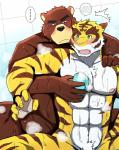 abs bath bearlovestiger13 biceps chest_tuft clothing duo feline fur hi_res juuichi_mikazuki male mammal morenatsu muscular nipples pecs tiger torahiko_(morenatsu) tuft  Rating: Questionable Score: 4 User: Vallizo Date: July 29, 2015