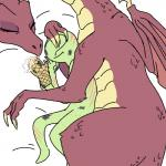 ?_face anon bald bed claws cuddling dragon duo eyelashes female green_skin human male mammal oven_mitts purple_scales scales scalie scratches sleeping unknown_artist wingsRating: SafeScore: 20User: AnonomnDate: July 21, 2018