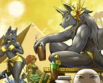 ! <3 ammit ankh anthro anubis bastet bikini black_fur black_hair canine clothed clothing crocodile deity desert drink egyptian egyptian_mythology feline female fur group hair headphones jackal link2004 male mammal open_mouth pyramid red_hair reptile scalie sekhmet_(character) skimpy swimsuit water  Rating: Questionable Score: 26 User: HoboAssassin Date: March 22, 2015