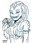2014 alien armor bikini_armor breasts bust cleavage clothed clothing english_text female heresy_(artist) looking_at_viewer predator_(franchise) sharp_teeth skimpy smile solo spots teeth text yautja   Rating: Questionable  Score: 0  User: ROTHY  Date: May 26, 2015
