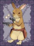 3_toes 4_fingers :3 ambiguous_gender anthro barefoot belt brown_eyes dual_wielding featureless_crotch fur gun handgun holding_object holding_weapon holster kerberos_blade kurarin lagomorph long_ears mammal mostly_nude official_art rabbit ranged_weapon revolver solo sparkle standing tan_fur toes weapon whiskersRating: SafeScore: 5User: BlueDingoDate: March 22, 2017