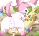 2015 anal anal_penetration anus balls blue_eyes blush brown_eyes butt canine censored cum cum_inside cute duo eeveelution erection feral fur humanoid_penis itameshi leafeon male male/male mammal nintendo open_mouth penetration penis pokémon presenting presenting_hindquarters sex smile sylveon text uncut video_games white_fur  Rating: Explicit Score: 22 User: BlueF Date: August 17, 2015