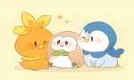 2016 <3 ambiguous_gender avian bird blush feral group hyaku1063 nintendo piplup pokémon rowlet simple_background torchic video_games