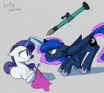 2014 blue_eyes blue_fur blue_hair cutie_mark darkflame75 duo equine female feral friendship_is_magic fur glowing hair horn magic mammal multicolored_hair my_little_pony princess_luna_(mlp) purple_hair ranged_weapon rarity_(mlp) rocket_launcher smile teal_eyes unicorn weapon white_fur winged_unicorn wings  Rating: Safe Score: 15 User: Egekilde Date: June 23, 2014