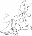 ambiguous_gender black_and_white canine clothing crossover cum digimon duo ear_tuft feline female fur gatomon gloves jackal knotting lucario male mammal monochrome nintendo pokémon pussy sex spread_legs spreading tuft video_games whiskers white_fur  Rating: Explicit Score: 5 User: Tailmon~ Date: July 17, 2015