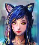 abstract_background ahri animal_humanoid black_hair canine facial_markings female fox fox_humanoid hair humanoid league_of_legends mammal marine1509 markings slit_pupils smile solo video_games yellow_eyes  Rating: Safe Score: 2 User: Ahri_The_Pure_Slut Date: February 14, 2016