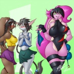 anthro bangs big_breasts big_ears black_hair blush bodysuit bra breasts cat clothed clothing feline female floppy_ears fur green_eyes hair huge_breasts lagomorph leotard long_ears long_hair looking_at_viewer mammal mastergodai multicolored_hair ninja panties pink_fur pink_hair rabbit rascals reiko_usagi shirt skinsuit skirt stealing tank_top thief two_tone_hair underwear upstairstudios voluptuous white_fur wide_hips  Rating: Questionable Score: 23 User: slydevious Date: May 26, 2013