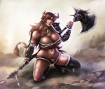 2014 axe big_breasts breasts cleavage clothed clothing corruption_of_champions excellia_(coc) female holding holding_weapon horn huge_breasts minotaur okai418 skimpy smile solo tattoo weapon   Rating: Safe  Score: 12  User: Robinebra  Date: August 06, 2014