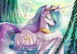 2015 adlynh crown cutie_mark equine eyes_closed female friendship_is_magic gold_(metal) horn lake mammal my_little_pony necklace outside princess_celestia_(mlp) solo tree water waterfall winged_unicorn wings  Rating: Safe Score: 27 User: 2DUK Date: September 02, 2015