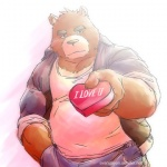 <3 anthro bear chubby clothing english_text grizzly_bear juuichi_mikazuki looking_at_viewer male mammal morenatsu simple_background solo text unknown_artist   Rating: Safe  Score: 5  User: terminal11  Date: July 15, 2013