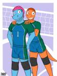 anthro bulge charmander clothing comic cover duo fuze hair hi_res male male/male nintendo pokémon pose sport totodile video_games volleyballRating: SafeScore: 0User: slyroonDate: June 20, 2017