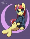 """2015 clothing cutie_mark equine eyewear female feral freckles_(artist) friendship_is_magic glasses hair horn looking_at_viewer mammal moondancer_(mlp) multicolored_hair my_little_pony purple_eyes smile solo sweater turtleneck unicorn  Rating: Safe Score: 0 User: ultragamer89 Date: July 07, 2015"""""""