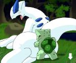 animated blush bulbasaur conditional_dnp duo eyes_closed female feral feral_on_feral from_behind_position legendary_pokémon low_res lugia male male/female nintendo open_mouth oze pokémon sex video_games