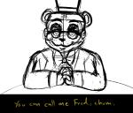 2016 2_heads animated animatronic anthro avian balloon_boy_(fnaf) bear bib bird blush bonnie_(fnaf) bow_tie buckteeth canine chica_(fnaf) chicken clothing dialogue english_text epilepsy_warning exposed_endoskeleton eye_patch eyewear female five_nights_at_freddy's five_nights_at_freddy's_2 fox foxy_(fnaf) freddy_(fnaf) glasses group hat human humanoid inkyfrog lagomorph looking_at_viewer machine male mammal mangle_(fnaf) marionette_(fnaf) mike_schmidt multi_head open_mouth open_smile propeller_hat rabbit restricted_palette robot security_guard shadow_bonnie_(fnaf) shadow_freddy_(fnaf) simple_background smile springtrap_(fnaf) talking_to_viewer teeth text top_hat toy_bonnie_(fnaf) toy_chica_(fnaf) toy_freddy_(fnaf) uniform video_games white_background
