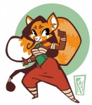 clothing female mammal red_panda simple_background smile solo wide_hips wildroxann  Rating: Safe Score: 1 User: SkokiaanFox Date: August 03, 2015