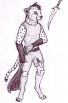 2016 4_toes anthro armband athletic cheetah claws clothed clothing digitigrade feline fingerless_gloves full-length_portrait gloves knife legwear looking_away male mammal mauem monochrome pants pen_(artwork) pencil_(artwork) portrait shirt simple_background socks spots standing toe_claws toes traditional_media_(artwork) white_background  Rating: Safe Score: 1 User: Vanzilen Date: March 11, 2016