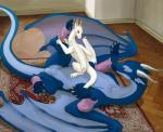 2016 animal_genitalia anthro anus balls blue_eyes carpet clothed clothing dragon dress duo female horn inside kodardragon nude purple_eyes sheath smile wings  Rating: Explicit Score: 3 User: Transistor Date: April 29, 2016