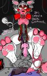 ! 2016 3_toes 5_fingers <3 amber_eyes animal_genitalia animal_penis animatronic anthro balls barefoot beckoning bedroom_eyes black_nose black_penis blood blood_splatter bow_tie canine canine_penis cheek_tuft clothing cute_fang digital_drawing_(artwork) digital_media_(artwork) english_text exposed_endoskeleton eyebrows eyelashes fangs five_nights_at_freddy's five_nights_at_freddy's_2 fox front_view gakuseigitsune_(artist) glowing glowing_eyes half-closed_eyes hanging_(disambiguation) hi_res holding_object hook humanoid_hands inside knot lips lipstick long_tail looking_at_viewer looking_away machine makeup male mammal mangle_(fnaf) multicolored_body multicolored_tail open_mouth panties panties_around_one_leg pawpads penis pink_body pink_pawpads pink_penis pink_tail presenting presenting_penis robot seductive shaded shadow signature smile snout solo_focus spread_legs spreading table text toes tongue tools tuft underwear uniform video_games watermark white_body white_sclera white_tail wires wrench  Rating: Explicit Score: 8 User: Iustinus_Tempus Date: March 23, 2016