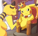 2016 alcohol ambiguous_gender ampharos beverage chair clothing crown duo english_text feral food gem half-closed_eyes long_ears mammal nintendo pikachu pokémon rodent royalty signature sitting smile solo text video_games wine ぶろっく  Rating: Safe Score: 9 User: Cαnε751 Date: April 23, 2016