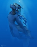 2013 anthro blue_theme bubble capricorn chazcatrix chazcatrix_(character) curled_horns ear_piercing fin fish_tail gills hair hi_res horn long_hair male navel nude penis piercing scales smile solo swimming underwater water yellow_eyes