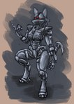 2021 3_eyes 3_fingers 3_toes anthro assaultron_(fallout) bethesda_softworks crossover digitigrade electronics fallout fallout:_pca feet fingers hi_res humanoid lucario machine multi_eye nintendo pokémon pokémon_(species) robot robot_humanoid robotics s-nina solo tail_blade toes video_games wrist_spikes