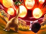 2016 4:3 alolan_exeggutor ambiguous_gender armless cloud duo exeggcute feral fire grass hi_res long_neck mammal meteor minior nintendo pokémon pokémon_(species) regional_variant rock sky video_games
