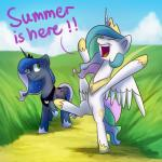 """2015 anticularpony duo english_text equine female feral friendship_is_magic horn mammal my_little_pony princess_celestia_(mlp) princess_luna_(mlp) text winged_unicorn wings  Rating: Safe Score: 11 User: Robinebra Date: June 29, 2015"""""""