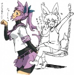 animal_humanoid animal_tail belt breasts clothing eevee eeveelution espeon eyelashes eyes_closed female gijinka hair hairpin humanoid japanese_text kusanagikaworu loli looking_at_viewer mammal nintendo pokémon ponytail purple_hair sitting sketch skirt smile standing swing teeth text translation_request video_games young  Rating: Safe Score: 3 User: DeltaFlame Date: April 01, 2015
